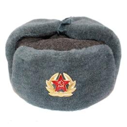 RUSSISCHE FELLMÜTZE WOLLE, SCHAPKA USCHANKA, WINTERMÜTZE MILITÄRMÜTZE DER SOWIETISCHEN ARMEE. GR. XL -