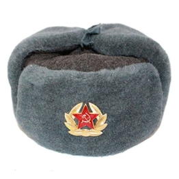 RUSSISCHE FELLMÜTZE WOLLE, SCHAPKA USCHANKA, WINTERMÜTZE MILITÄRMÜTZE DER SOWIETISCHEN ARMEE - Größen verfügbar: 54/55 (S) -