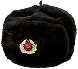 RUSSISCHE SCHWARZ FELLMÜTZE WOLLE, SCHAPKA USCHANKA, WINTERMÜTZE MILITÄRMÜTZE DER SOWIETISCHEN ARMEE - Größen verfügbar: 60-61 (XL) -