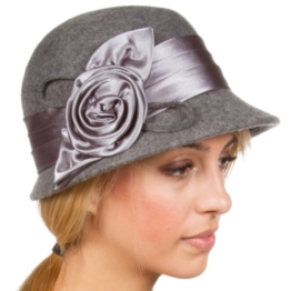 Sakkas CL1489 Vintage Style 100% Wolle Cloche Eimer Winter Hut - Heather Grey / One Size -