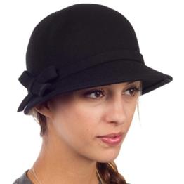 Sakkas EH0621LC - Frauen Jahrgang Stil Wolle Topfhut Bucket Winter Hut with Ribbon Bogen Akzent ( 4 Farben ) - Schwarz/eine Größe -