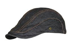 Schirmmütze Herrenmütze slim fit Denim washed Lakota Gatsby Sportmütze Flatcap (M / 56 cm - 57 cm, Schwarz) -