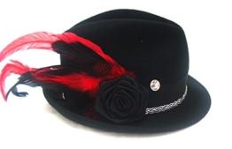 Schwarzer Designer Trachtenhut mit Federn Größenverstellbar Handarbeit -