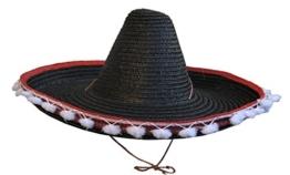Schwarzer Mexikaner Sombrero mit Kordel und weißen Bommeln - 55cm -
