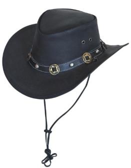 Scippis Concho Lederhut Classic Cowboyhut Australienhut (M/56-57 - schwarz) -