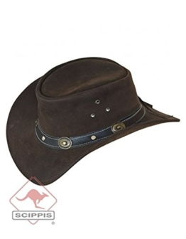 Scippis Rugged Earth Lederhut Cowboyhut Westernhut incl. Korkstreifen und Lederfangband, braun (L) -