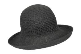 Seeberger Damen Sonnenhut Häkelstrohhut, Einfarbig, Gr. Medium, Schwarz (schwarz 10) -