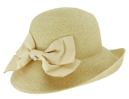 Seeberger Damen Sonnenhut Hut, Einfarbig, Gr. Medium, Beige (leinen 93) -