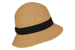 Seeberger Damen Sonnenhut Raffiahut mit Baumwollband, Einfarbig, Gr. Medium, Beige (natur 90) -