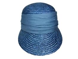 Seeberger Grace Stroh Sonnencap Strohkappen Damencap (One Size - denim) -