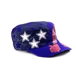Sense42 Army Cap Damen Herren Stars and Stripes Violett Metallic Cap One Size -