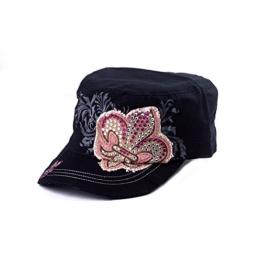 Sense42 Army Cap Damen Herren Fleur de Lis Used Look Schwarz Strasssteine Cap One Size -