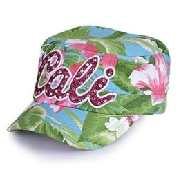 """Sense42 Army Cap im Used Look All-Over Flower Design Pink Glitzer Schriftzug """"Cali"""" mit Strasssteinen Hellblau Unisex Kappe Schirmmütze One Size -"""