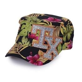 Sense42 Army Cap im Used Look All-Over Flower Design TX mit Strasssteinen Silber Unisex Kappe Schirmmütze One Size -