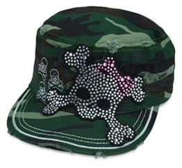 Sense42 Army Cap im Used Look Strass Totenkopf Schleife mit Strasssteinen Camouflage Unisex Kappe Schirmmütze One Size -