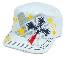 Sense42 Army Cap im Used Look Strass Kreuz Flagge Texas mit Strasssteinen Weiß Unisex Kappe Schirmmütze One Size -