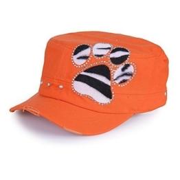 Sense42 Army Cap im Used Look Strass Tatze im Zebraprint-Design mit Strasssteinen Orange Unisex Kappe Schirmmütze One Size -