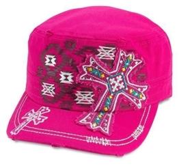Sense42 Army Cap im Used Look Stickerei Kreuz Pink Weiß Unisex Kappe Schirmmütze Cap One Size -