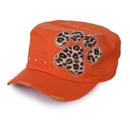 Sense42 Army Cap im Used Look Strass Tatze im Leoprint-Design mit Strasssteinen Orange Unisex Kappe Schirmmütze One Size -
