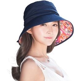 SIGGI Baumwolle schwarzeblaue flatbare Sonnenhüte Fischerhüte für Damen breite Krempe -