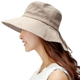 SIGGI Baumwolle Sonnenhut UPF 50 + Sun Shade Hut mit Nackenschnur Damen breite Krempe Khaki -
