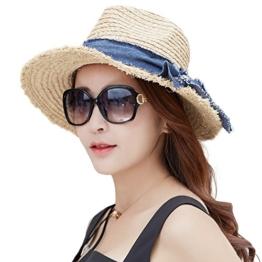 SIGGI beige raffia Stroh Sonnenhüte UPF 50 Sonnen Shade Strand Luffy Fedora Damen breite Krempe -