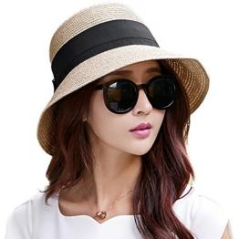 SIGGI beigemix Sonnenhut Strandhut Sun Shade Hut Sonnenschutz mit breite Krempe für Damen -