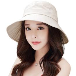 SIGGI beiger Baumwolle Damen faltbare Sonnenhüte Sonnen Shade mit Kinnriemen SPF50 + breite Krempe -