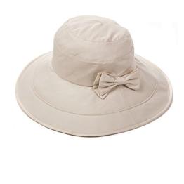 SIGGI beiger Baumwolle faltbarer Sommerhut UPF 50 + Sun Shade Strand Hut für Frauen Sonnenhüte breite Krempe -