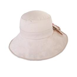 SIGGI beiger Baumwolle Sommerhut UPF 50 + Sun Shade Strand Hut für Frauen Sonnenhüte mit Schleife breite Krempe -