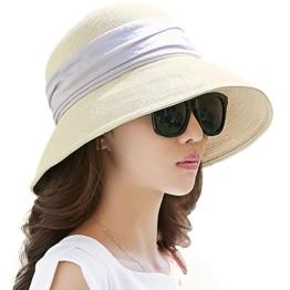 SIGGI beiger klappbarer Sonnenhut Sommerhut Sun Shade Hut Sonnenschutz mit für Frauen mit breite Krempe -