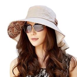 SIGGI Damen Baumwolle Sonnenhut breite Krempe UPF 50+ mit Kinnriemen kaffeebraun -