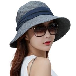 SIGGI Damen faltbarer Baumwolle Bucket Sonnenhut UPF 50+ mit Kinnriemen beige -