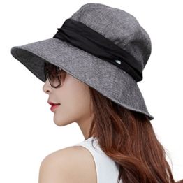 SIGGI Damen faltbarer Baumwolle Bucket Sonnenhut UPF 50+ mit Kinnriemen schwarz -