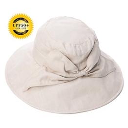 SIGGI Damen faltbarer Baumwolle Sonnenhut UPF 50+ mit Kinnriemen Schleife beige -