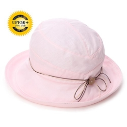SIGGI Damen faltbarer Baumwolle Sonnenhut UPF 50+ mit Kinnriemen rosa -