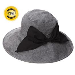 SIGGI Damen faltbarer Baumwolle Sonnenhut UPF 50+ mit Kinnriemen Schleife schwarz -