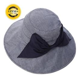 SIGGI Damen faltbarer Baumwolle Sonnenhut UPF 50+ mit Kinnriemen Schleife schwarzblau -