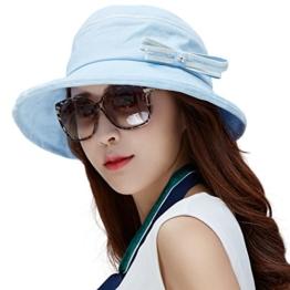 SIGGI Damen Faltbarer Bucket Sonnenhut breite Krempe mit Schleife Sommer blau -