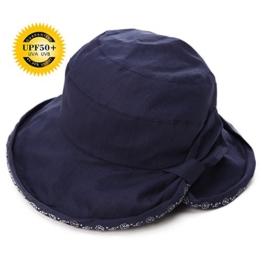 SIGGI Damen faltbarer Sonnenhut UPF 50+ Breite Krempe mit schwarzblau -