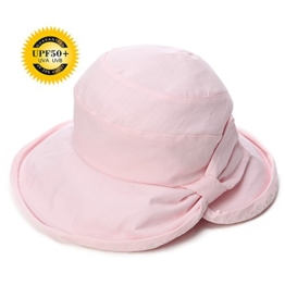 SIGGI Damen faltbarer Sonnenhut UPF 50+ Breite Krempe mit Kinnriemen rosa -