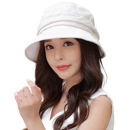 SIGGI Damen faltbarer Sonnenhut Sommerhut Bucket UPF 50+ mit Kinnriemen beige -