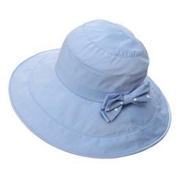 SIGGI Damen faltbarer Sonnenhute Standhut mit Sonnen Shade Schleife SPF 50 + blau -