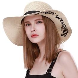 SIGGI Damen faltbarer Strohhhut Sonnenhut breite Krempe mit Sonnenschutz Beige -