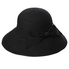 SIGGI Damen faltbarer Strohhut Sonnenhut breite Krempe 56-59CM schwarz -