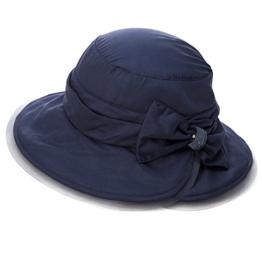 SIGGI Damen Seide faltbarer Bucket Sonnenhut breite Krempe mit Schleife schwarzblau -