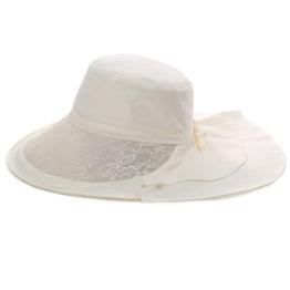 SIGGI Damen Sonnenhut Strandhut breite Krempe mit Kinnband UV 50+ beige -