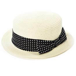 SIGGI Damen Strandhut Boater Sonnenhüte mit Schleife sahne -