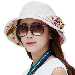 SIGGI Damen UPF 50+ faltbarer Sonnenhut Breite Krempe mit Kinnriemen beige -
