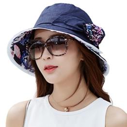 SIGGI Damen UPF 50+ faltbarer Sonnenhut Breite Krempe mit Kinnriemen schwarzblau -
